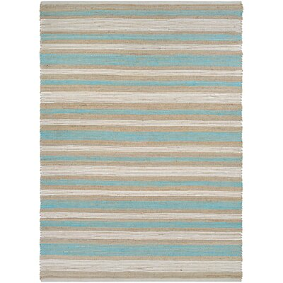 Hansville Awning Stripes Hand-Loomed Straw/Arctic Blue Area Rug Rug Size: Rectangle 710 x 1010