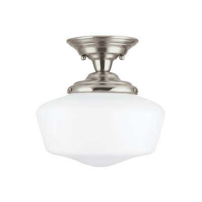 Panacea 1-Light Semi Flush Mount Finish: Brushed Nickel, Size: 12.5 H x 13 W x 13 D