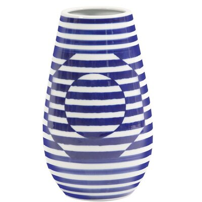 Optical Illusion Striped Ceramic Table Vase Size: 17 H x 10.5 W x 10.5 D