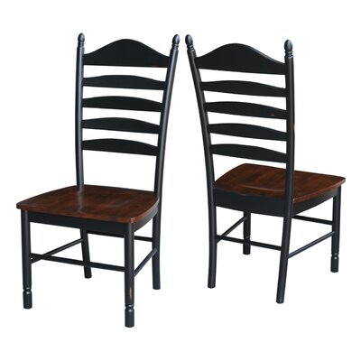 Hallandale Ladderback Solid Wood Dining Chair Finish: Aged Ebony