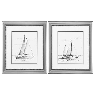 Coastal Boat Sketch 2 Piece Framed Painting Print Set