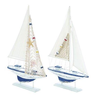 2 Piece Carved Edges Sailing Model Boat Set