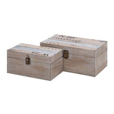 2 Piece Gray Wood and Metal Box Set