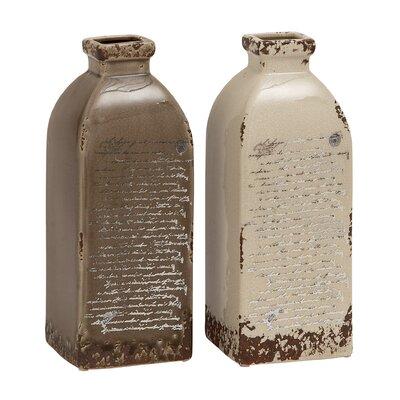 2 Piece Grey and Cream Ceramic Vase Set