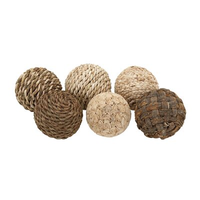 Decorative Dried Plant Ball 6 Piece Sculpture Set
