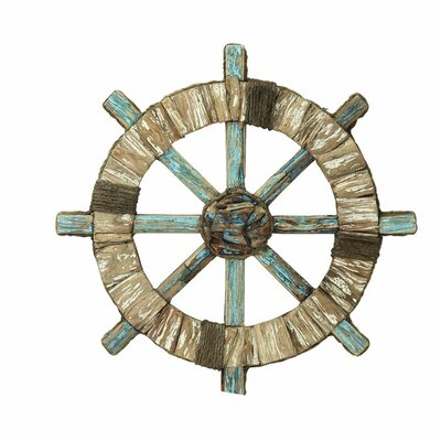 Distressed Wood/Rope Shipwheel Wall Décor