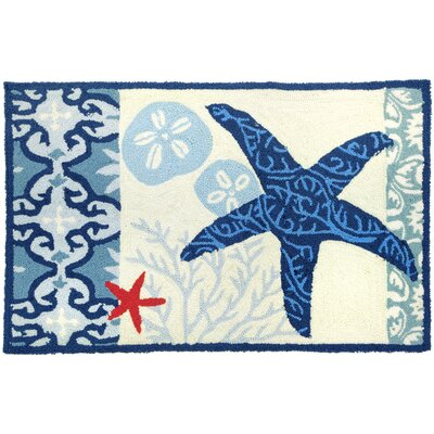 Orlando Blue/Ivory Italian Tile With Starfish Outdoor Area Rug Rug Size: 110 x 210