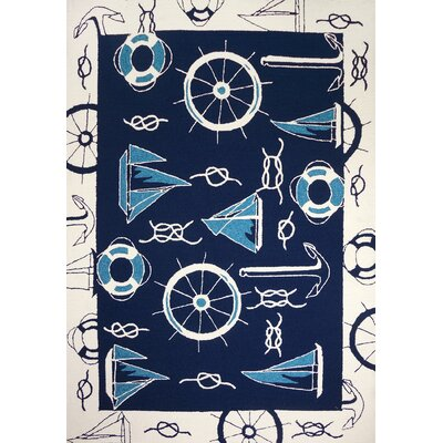 Brownsville Nautical Blue/Beige Indoor/Outdoor Area Rug Rug Size: Rectangle 3 x 5