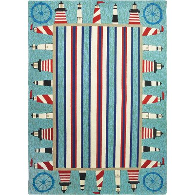 Dalvey Lighthouse Brigade Turquoise/Red Indoor/Outdoor Area Rug Rug Size: 3 x 5