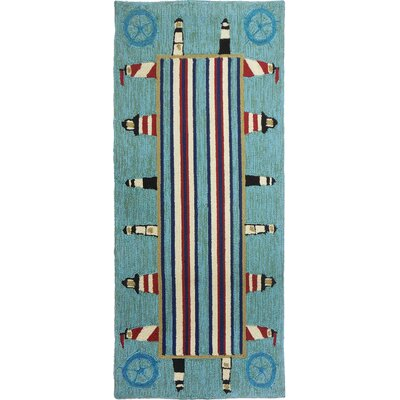 Dalvey Lighthouse Brigade Turquoise/Red Indoor/Outdoor Area Rug Rug Size: 22 x 5