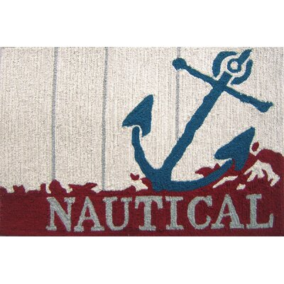 Dalvey Nautical Anchor Beige/Red Area Rug