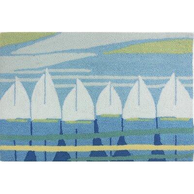 Orlando Nautical Anchor Turquoise/White Area Rug