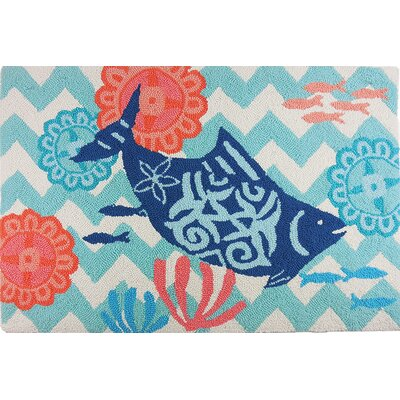 Dalvey Key West Chevron Blue/Turquoise Area Rug