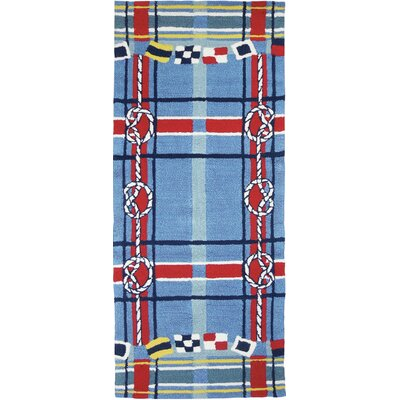 Brownsville Nautical Plaid Blue Indoor/Outdoor Area Rug Rug Size: Runner 22 x 5