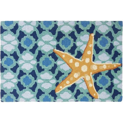 Orlando Starfish On Blue Tile Area Rug