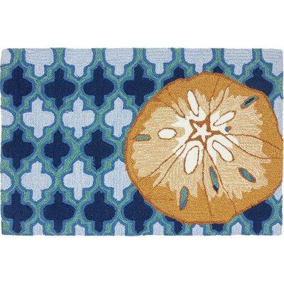 Orlando Sand Dollar Hand-Woven Wool Blue Area Rug