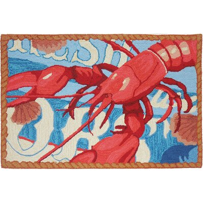 Dalvey Fresh Catch Lobster Red/White Area Rug