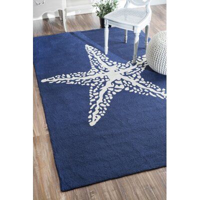 Dashiell Hand-Woven Navy/White Indoor/Outdoor Area Rug Rug Size: Rectangle 6 x 9