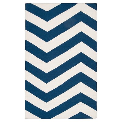 Highlands Dark Blue/White Area Rug Rug Size: 36 x 56
