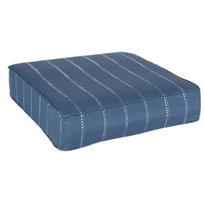 Travis Dotted Stripes Ottoman Cushion Fabric: Navy