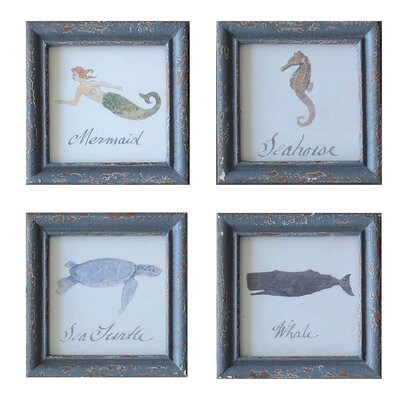 Sea Life 4 Piece Framed Painting Print Set
