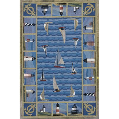 Clay Blue Light Houses Area Rug Rug Size: 36 x 56