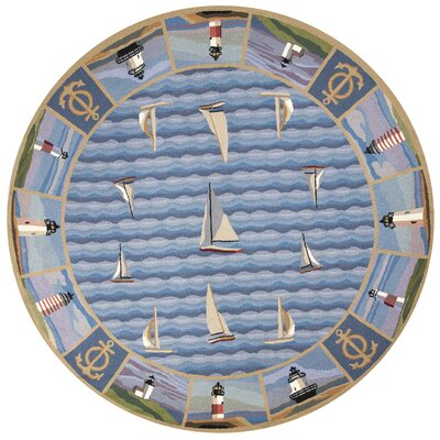 Clay Blue Light Houses Area Rug Rug Size: Round 76