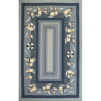 Cobscook Sailboats Blue Area Rug Rug Size: 33 x 53
