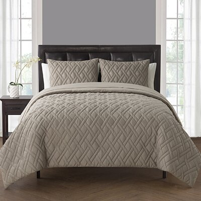 Woodbridge Comforter Set Color: Taupe, Size: Queen