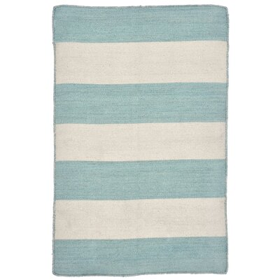Ranier Stripe Hand-Woven Blue/Beige Indoor/Outdoor Area Rug Rug Size: Rectangle 5' x 7'6