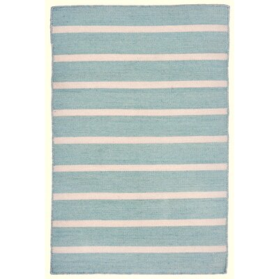 Ranier Pinstripe Hand Woven Blue Indoor/Outdoor Area Rug Rug Size: 76 x 96