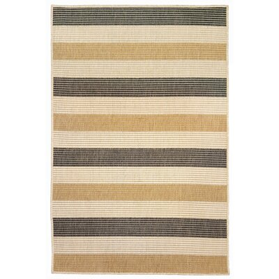 Larana Stripe Beige/Gray Indoor/Outdoor Area Rug Rug Size: 33 x 411
