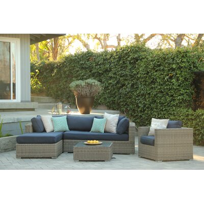 Greendale 4 Piece Deep Seating Group with Cushion Fabric: Navy