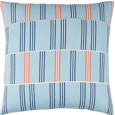 Watson Cotton Throw Pillow Color: Sky Blue / Dark Blue / White / Orange, Size: 20
