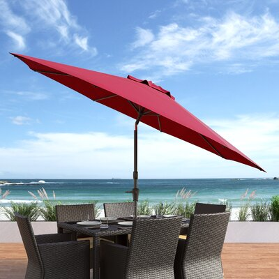10 Burnham Deluxe Tilting Patio Cantilever Umbrella Fabric: Wine Red