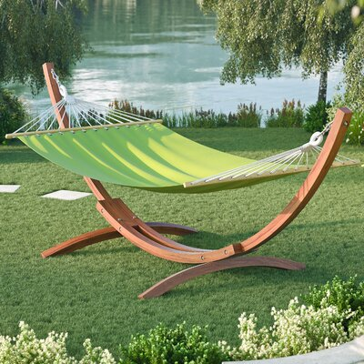 Murphy Free-Standing Patio Hammock with Stand Color: Lime Green