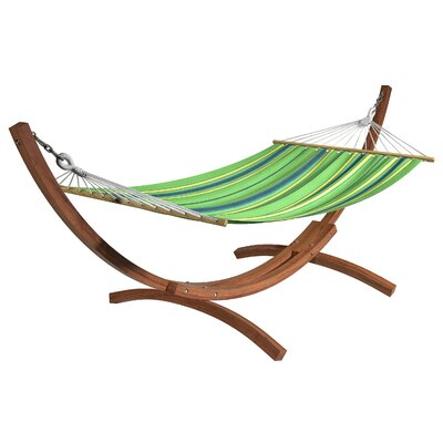 Grissom Free-Standing Patio Hammock with Stand Color: Blue/Green/ Yellow
