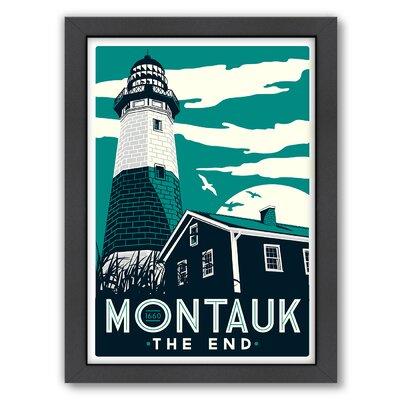 Montauk Lighthouse Framed Vintage Advertisement Frame Color: Black