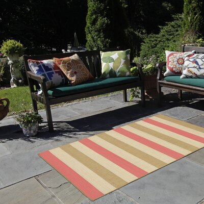 Breakwater Bay Valero Stripe Beige/Pink Indoor/Outdoor Area Rug