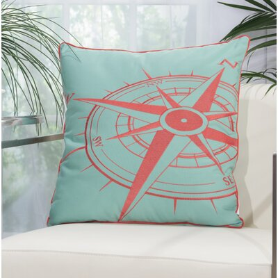 Burke Compass Outdoor Acrylic Throw Pillow Color: Aqua / Coral