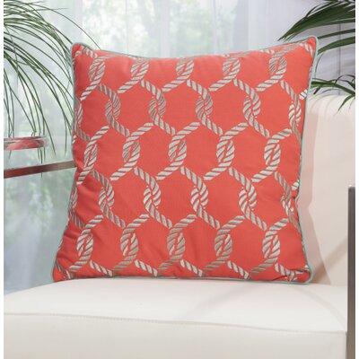 Hebrides Woven Ropes Outdoor Acrylic Throw Pillow Color: Coral / Aqua