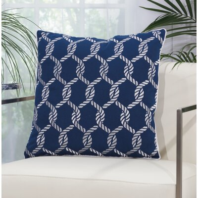 Hebrides Woven Ropes Outdoor Acrylic Throw Pillow Color: Navy / White