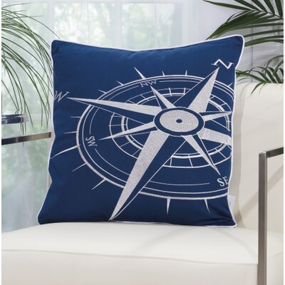 Burke Compass Outdoor Acrylic Throw Pillow Color: Navy / White