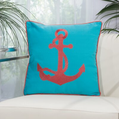 Drop Anchor Outdoor Pillow Color: Turquoise/Coral