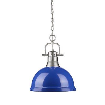 Bowdoinham 1-Light Pendant Shade Color: Blue, Size: Large, Finish: Pewter