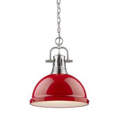 Bowdoinham 1-Light Pendant Size: Large, Finish: Pewter, Shade Color: Red