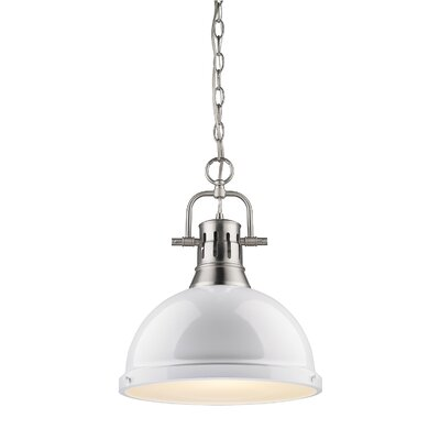 Bowdoinham 1-Light Pendant Size: Large, Finish: Pewter, Shade Color: White