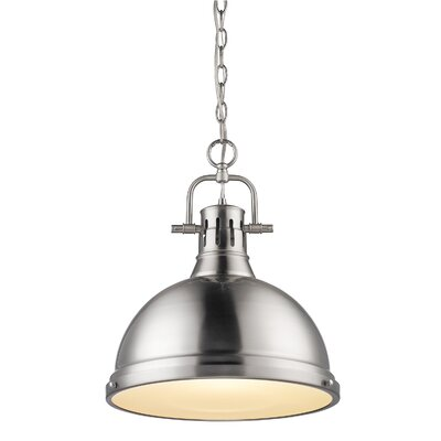 Bodalla 1-Light Pendant Finish: Pewter, Size: Small, Shade Color: Pewter