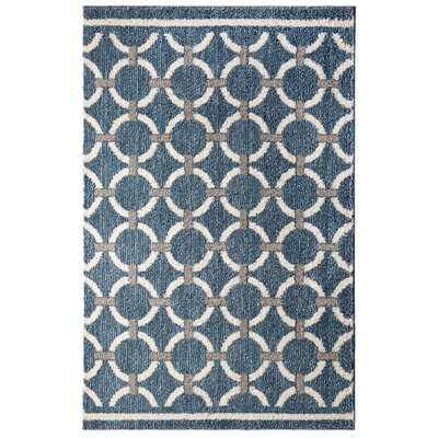 Elmwood Linked Circles Blue/Beige Area Rug Rug Size: 5 x 7