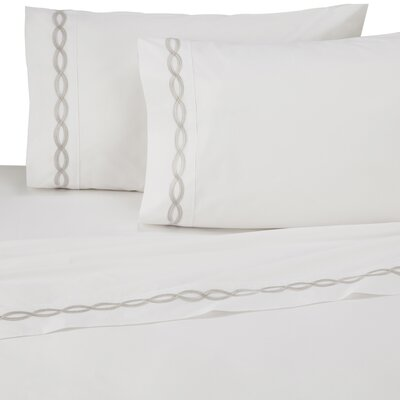Perkins Embroidered 200 Thread Count 100% Cotton Sheet Set Size: Twin, Color: Gray